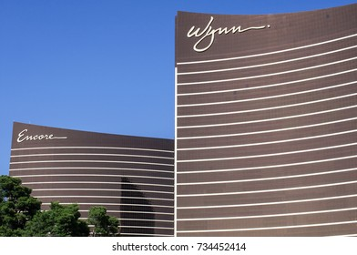 LAS VEGAS, NEVADA - MAY 16, 2012: The Encore and Wynn hotels are luxury resorts located on the Las Vegas Strip.