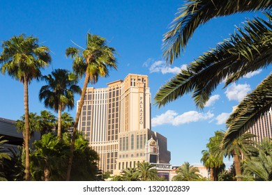 LAS VEGAS, NEVADA - MAY 17, 2018:  View of the Palazzo Tower at the Venetian hotel resort and casino in Las Vegas
