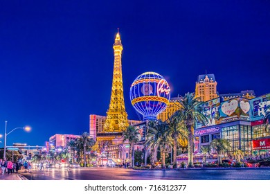 LAS VEGAS, NEVADA - MAY 17, 2017: Beautiful night  view of Las Vegas with Paris Resort Casino and hotels in view.