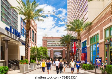LAS VEGAS, NEVADA - MAY 18, 2017:  View of outdoor Linq Promenade pedestrian plaza off the Vegas Strip with people in view.