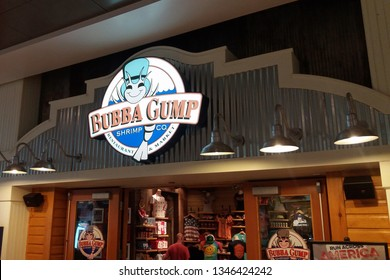 LAS VEGAS, NEVADA - May 22, 2016: Bubba Gump Shrimp Co restaurant sign. American seafood restaurant chain inspired by the 1994 film Forrest Gump.
