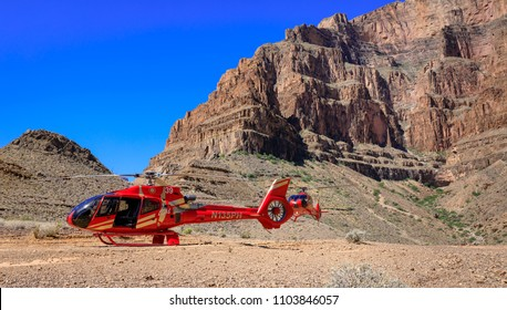 Las Vegas, Nevada - May 27, 2018 : Scenic shot of a helicopter parked near the bottom of the Grand Canyon