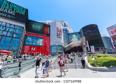 Las Vegas, Nevada - May 27, 2018 : Main entrance of Miracle Mile Shops, Planet Hollywood Hotel, in Las vegas strip