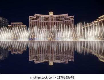 Las Vegas, Nevada - May 27, 2018 : The Fountains of Bellagio at night, Las Vegas Blvd at night