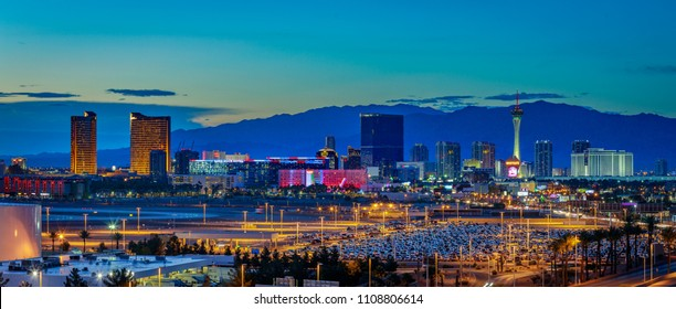 Las Vegas, Nevada - May 28, 2018 : Skyline view at sunset of the famous Las Vegas Strip located in world class hotels and casinos, NV