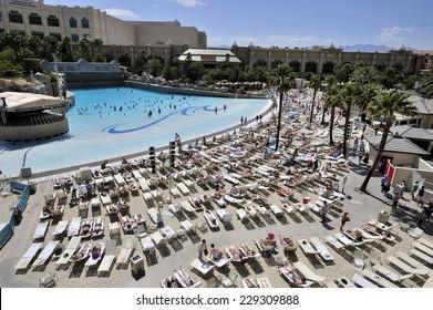 LAS VEGAS, NEVADA, - MAY 28. 2008: Swimming pool at Mandalay Bay Resort and Casino in Las Vegas, famous for its artificial waves