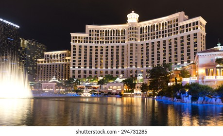 LAS VEGAS, NEVADA - MAY 29: Bellagio hotel on May 29, 2015 in Las Vegas, Nevada,USA. Bellagio is a luxurious hotel famous with its fountains
