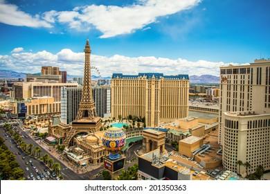 LAS VEGAS, NEVADA - MAY 7, 2014: Above ground view of Las Vegas Strip hotel resorts and casinos. Over 39.7 million people visit Las Vegas each year.