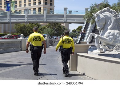 LAS VEGAS, NEVADA - MAY 9, 2014: Las Vegas Metropolitan Police Department officers providing security on Las Vegas Strip.