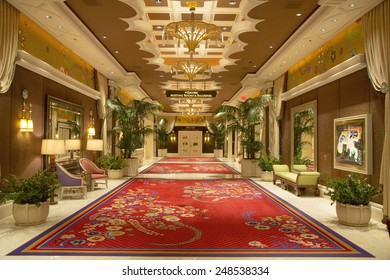 LAS VEGAS, NEVADA - MAY 9, 2014: Meeting rooms hall at the Wynn Hotel and Casino in Las Vegas. The US$2.7 billion resort is named after casino developer Steve Wynn