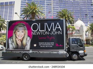 LAS VEGAS, NEVADA  - MAY 9, 2014: Billboard truck on Las Vegas Strip in Las Vegas
