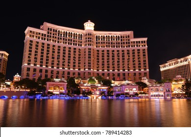 Las Vegas, Nevada - November 12th, 2017; The famous Bellagio Hotel and Casino on Las Vegas at night. The fontain show in the water ppol is one of the mail acts in Vegas.