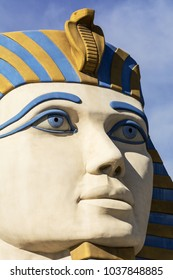 LAS VEGAS, NEVADA -  NOVEMBER 14, 2017: Close up of the Great Sphinx located at the entrance to the Luxor Hotel and Casino on the Las Vegas Strip.