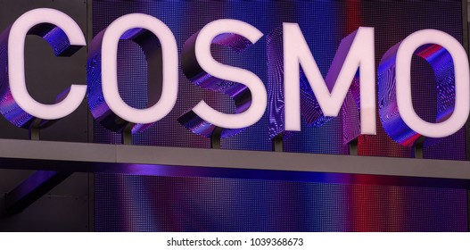 """LAS VEGAS, NEVADA - NOVEMBER 14, 2017: Entrance to The Cosmopolitan resort and casino also known as """"Cosmo"""" is located on the Las Vegas Strip."""