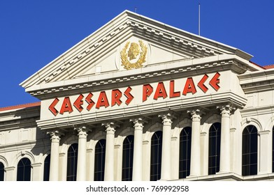 LAS VEGAS, NEVADA - NOVEMBER 14, 2017: Upward view of Caesars Palace a landmark luxury casino and resort located on the Las Vegas Strip.