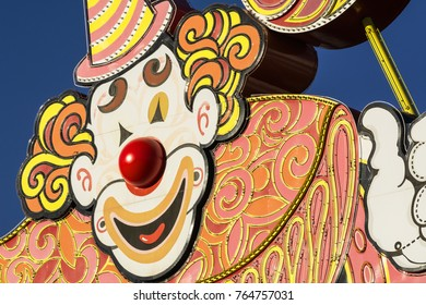 """LAS VEGAS, NEVADA - NOVEMBER 15, 2017: """"Lucky the Clown"""" greets visitors at the entrance to the Circus-Circus hotel and casino located on the Las Vegas Strip near downtown."""