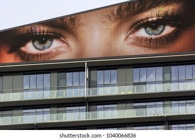 """LAS VEGAS, NEVADA - NOVEMBER 16, 2017: """"The Eyes"""" atop The Cosmopolitan resort and casino are always watching the action on the Las Vegas Strip."""