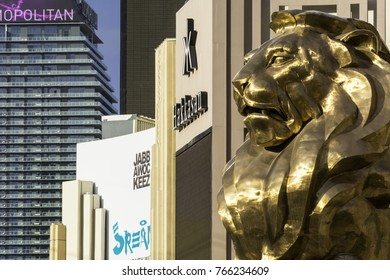 """LAS VEGAS, NEVADA - NOVEMBER 16, 2017: """"Leo the Lion"""" greets visitors to the MGM Grand a hotel and casino located on the Las Vegas Strip. On the left is The Cosmopolitan."""