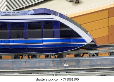 LAS VEGAS, NEVADA - NOVEMBER 16, 2017: The Aria Express is an elevated train system serving the luxury resort and casino located on the Las Vegas Strip.