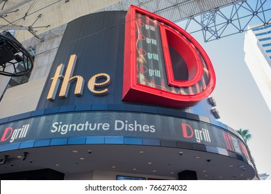 Las Vegas, Nevada, November 22, 2017: The beautiful neon sign for The D, a casino and hotel at the Fremont Street Experience, a popular area downtown Las Vegas, known for neon signs.