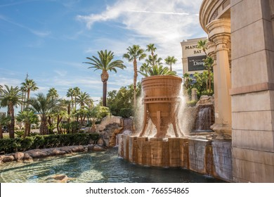 Las Vegas, Nevada, November 23, 2017: The giant fountain in front of the famous Mandalay Bay casino in Las Vegas. Millions visit the theme hotels in Las Vegas yearly.