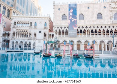 Las Vegas, Nevada, November 23, 2017: Exterior view of the beautiful Venice themed hotel and casino, the Venetian, in Las Vegas. The hotel offers gondola rides and great shopping and dining.