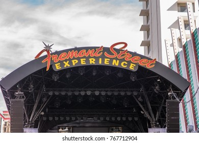 Las Vegas, Nevada, November 24, 2017: Fremont Street sign high above a stage at the Fremont Street Experience, a popular, busy area downtown Las Vegas that offers shows, shopping and dining.