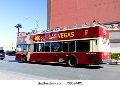 LAS VEGAS, NEVADA - OCT 10, 2017: Big Bus Las Vegas Hop-On Hop-Off on Las Vegas Strip in Las Vegas