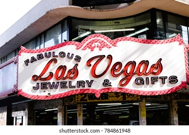 Las Vegas, Nevada, October 10, 2017: The beautiful neon sign for Las Vegas, a store at the Fremont Street Experience, a popular area downtown Las Vegas, known for neon signs.