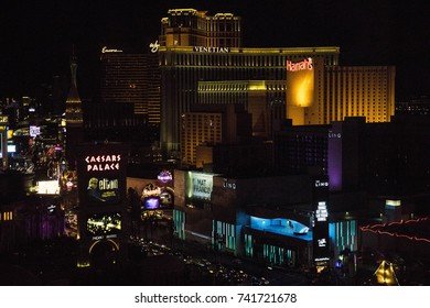 LAS VEGAS, NEVADA - OCTOBER 11, 2017 - Looking down at the Strip and Las Vegas Boulevard at night, with a lot of famous hotels and casinos.