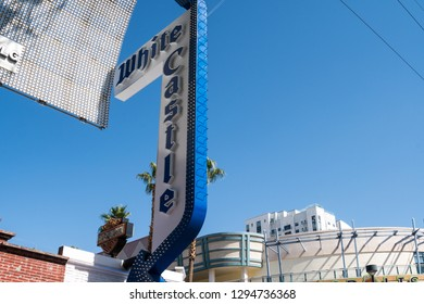 Las Vegas, Nevada - October 13, 2018: White Castle fast food restaurant sign on Fremont Street in downtown Las Vegas, attracts tourists for its cheap hamburger sliders