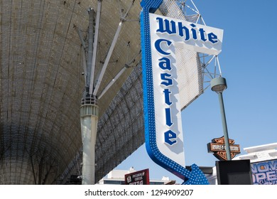 Las Vegas, Nevada - October 13, 2017:   : White Castle fast food restaurant sign on Fremont Street in downtown Las Vegas, attracts tourists for its cheap hamburger sliders