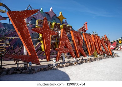 LAS VEGAS, NEVADA, - OCTOBER 15, 2017 - The Neon Museum in Las Vegas, Nevada, United States, features signs from old casinos and other businesses displayed outdoors on 2.62 acres.