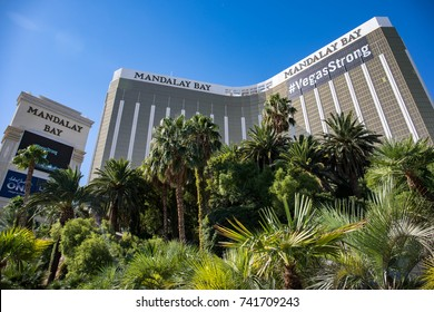 LAS VEGAS, NEVADA - OCTOBER 15, 2017 - Mandalay Bay Resort and Casino is located at the beginning of the Strip in Las Vegas, Nevada