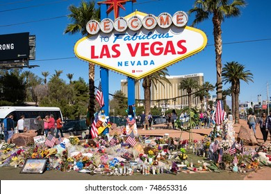 LAS VEGAS, NEVADA - OCTOBER 15, 2017 -  Flowers and gifts at the memorial park by Mandalay Bay on the Vegas Strip at the Las Vegas sign to remember victims killed in the Las Vegas mass shooting.