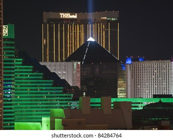 LAS VEGAS, NEVADA - Sept 7: Luxor, MGM, Excalibur and The Hotel on the strip.  Vegas has 147,611 hotel rooms with a average daily rate of $106 on September 7, 2011 in Las Vegas, Nevada.