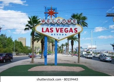 LAS VEGAS, NEVADA - SEPTEMBER 19: Famous neon welcome sign near the strip on September 19, 2008 in Las Vegas. Built in 1959 at a cost of $4000, it stands 25 feet high.