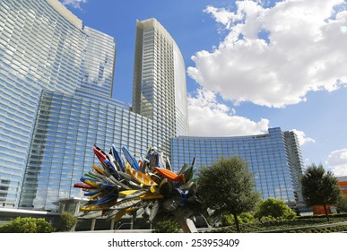LAS VEGAS, NEVADA - SEPTEMBER 25, 2014: Aria Hotel at CityCenter, urban complex on 76 acres (31 ha) located on the Las Vegas Strip with different hotels, casinos and residence