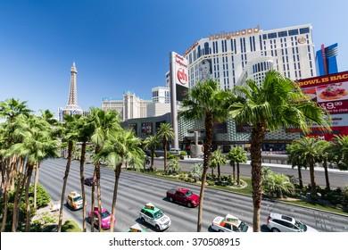 LAS VEGAS, NEVADA - SEPTEMBER 8: Exterior views of the Paris Casino Resort on the Las Vegas Strip on September 8, 2015. The Paris Casino Resort is a famous and popular luxury casino in Vegas.