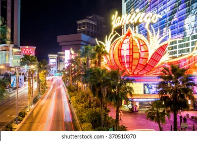 LAS VEGAS, NEVADA - SEPTEMBER 9: Exterior views of the Flamingo Casino Resort on the Las Vegas Strip on September 9, 2015. The Flamingo Casino Resort is a famous and popular luxury casino in Vegas.