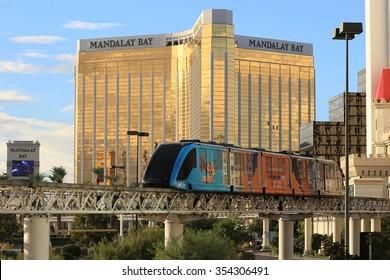 LAS VEGAS Nevada State,Oct 30 2015 LasVegas Boulevard at Morning,Mandalay Bay Casino and Hotel