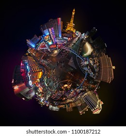 LAS VEGAS, NEVADA, UNITED STATES - 05 06 2018: LAS VEGAS STRIP AT NIGHT - 360 DEGREES PLANET PANORAMA - DRONE SHOT.