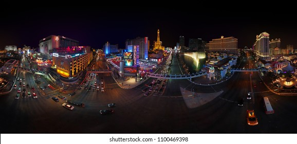 LAS VEGAS, NEVADA, UNITED STATES - 05 06 2018: LAS VEGAS STRIP AT NIGHT - 360 DEGREES PANORAMA - DRONE SHOT.