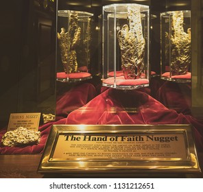 Las Vegas, Nevada, United States of America - october, 2017. Hand of Faith gold nugget on display at Golden Nugget casino in Las Vegas.