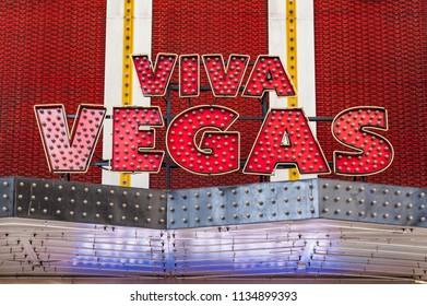 Las Vegas, Nevada, United States - May 27, 2013: Close-up of the neon sign reading Viva Vegas.