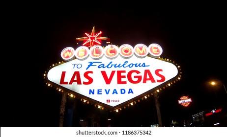 Las Vegas, Nevada, United States - September 20, 2018: the popular Las Vegas neon Sign. Welcome to Fabulous Las Vegas Nevada illuminated by night.
