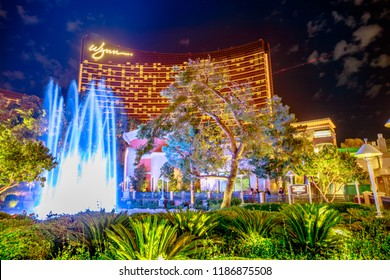 Las Vegas, Nevada, United States - August 18, 2018: Wynn Las Vegas colorful Fountain Show by blue hour, a new fountain show from June 2016. The Wynn is Resort Hotel Casino, a 5-star in Las Vegas Strip