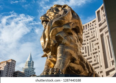 Las Vegas, Nevada, United States of America - January 11, 2017. Statue of Leo, the MGM lion, in front of MGM Grand Hotel and Casino in Las Vegas, NV. This is the largest bronze statue in the US.
