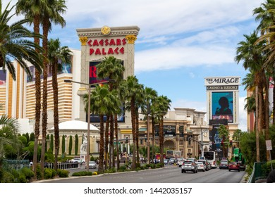 Las Vegas, Nevada, United States: May 20, 2019: Las Vegas Strip, casino and hotels city view at daytime from the street. Caesars Palace hotel and casino