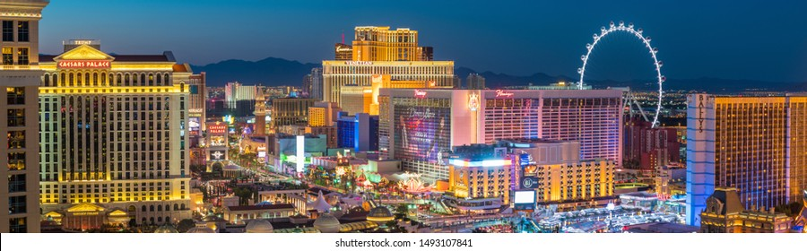Las Vegas, Nevada, United States : Panoramic view of the Las Vegas Strip. it is a stretch of South Las Vegas Boulevard in Nevada that is known for its concentration of hotels and casinos on 2016-07-14